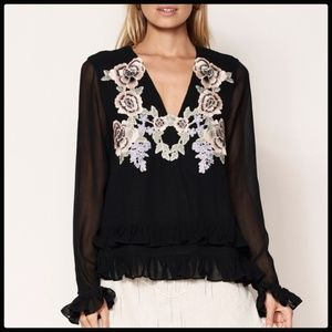 NEW! STEVIE MAY BLOUSE S EMBROIDERED BEAUTIFUL